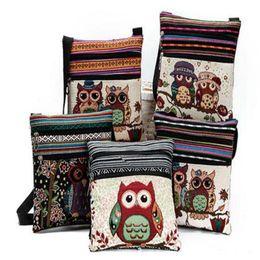 Wholesale Owl Handbag Backpack - 2017 Cute Cartoon Owl Print Messenger Bags Canvas Female Shoulder Bags Double Zipper Women Mini Flap Shoulder Handbags for kids Backpacks