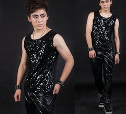 Wholesale Beige Sequin Tank Top - Wholesale- Fashion Men Sequin Tank Tops Stage Personality Sequined Sleeveless Top Performance show