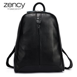 Wholesale Genuine Laptops - Wholesale- New 2017 100% Real Soft Genuine Leather Women Backpack Woman Korean Style Ladies Strap Laptop Bag Daily Backpack Girl School