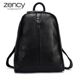 Wholesale Korean Style Backpacks - Wholesale- New 2017 100% Real Soft Genuine Leather Women Backpack Woman Korean Style Ladies Strap Laptop Bag Daily Backpack Girl School