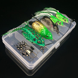 señuelos de rana artificial Rebajas 1 Caja + 7 Unids Accesorios (Pin + Línea de Alambre de Acero) + 5 Unids Ganchos de Pesca de la Rana Anzuelos Cebos Suaves Señuelos Artificiales Cebo Pesca Aparejos de Pesca