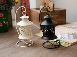 Wholesale Vintage Hanging Candle Holder - Vintage Metal European Candlestick Candle Lantern Holder Articles Hanging Lantern with Candle Stand Wedding Home Decor