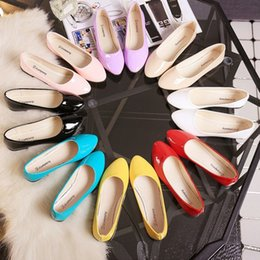 Wholesale Colored Plastic Fabric - 2017 New Spring and Summer New Korean Female Shoes Solid Flat Shoes Candy Colored Shoes Plus Size