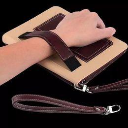 transparente farbe ipad mini Rabatt Hand Halter Design Ledertasche für ipad 2/3/4/5/6/7 Lautsprecher Verstärker Cover Stand für ipad mini 1/2/3/4 hohe Qualität