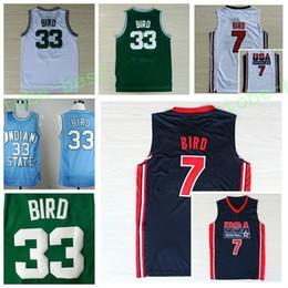 Wholesale College Basketball Usa - 1992 USA Dream Team Larry Bird Jersey 7 Throwback Indiana State Sycamores 33 Larry Bird College Jerseys Home Green White Navy Blue