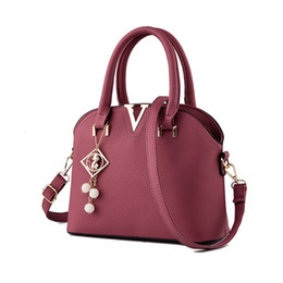 Wholesale Shell Korean - Wholesale- Korean Style Luxury Women Bag Designer Handbags Women PU Leather Shoulder Bags Shell-shaped Tote Large Messenger Bags