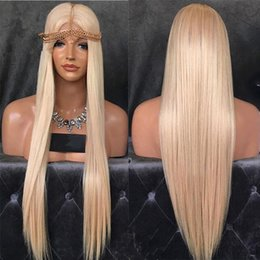 Wholesale Blond Human Hair Lace Wigs - 8 A Cheap Weaving Wig Blond Hair Gluless # 613 Virgin Brazilian Hair Straight Blond Hair In Front Of The Black Pearl Human Wigs, White Women