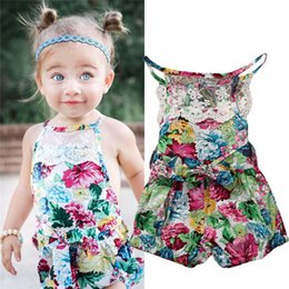 Wholesale Angle Kids Dress - Baby Romper Dress Suit Toddler Cute Clothes Boutique Girl Clothing Set Infant Floral Rompers Shorts Angle Jumpsuit Next Kids Onesies Outfit
