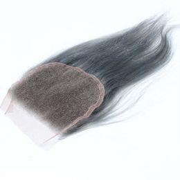 2019 цвет волос для азиат 4x4inch серебряный серый волос ТОП закрытие с 100% человеческих волос # серый закрытие прямой бразильский закрытие с волосами ребенка