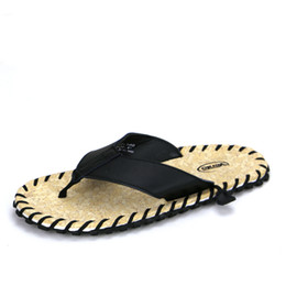 Wholesale Used Leather Shoes - Wholesale- Flip-Flops Men Slippers Summer Beach Sandals Shoes Handmade Genuine Leather Mens Sandals Flip Flops For Outdoor Beach Use