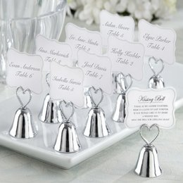 "Wholesale Kissing Bell Card Holders - Wholesale-18pcs lot+FREE SHIPPING+""Kissing Bell"" Silver Bell Place Card Holder Photo Holder Wedding Table Decoration Favors"