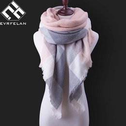 Wholesale Blue Plaid Scarf Cashmere - 23 color Fashion Winter Scarf For Women Scarf Cashmere Warm Plaid Pashmina Scarf Luxury Brand Blanket Wraps Female Scarves And Shawls