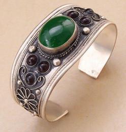 Wholesale Copper Fish Bead - Unisex Vintage Garnet Green Jade Bead Cuff Bracelet Bangle Tibet Silver Gift