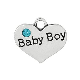 """Wholesale Antique Carved Boy - Wholesale- DoreenBeads Zinc Alloy Charm Pendants Heart Antique Silver Message Pattern""""Baby Boy""""Carved Skyblue Rhinestone 16mmx14mm,2 PCs"""