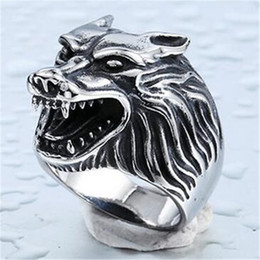 Wholesale Wolf Band Ring - Super Cool Stainless Steel Ring Top Quality Wolf Rings Fashion Jewelry