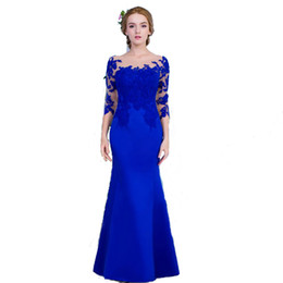 Wholesale Beautiful Lady Fashion Dress - New Brand Beautiful Ladies Fashion Royal Blue Dress Evening Party With Appliques Mermaid Style Dresses Prom Vestido de noche