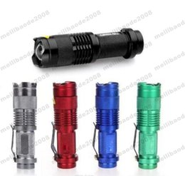 Wholesale Mini Cree Led Flashlight 7w - NEW 5 Colors Flash Light 7W 300LM CREE Q5 LED Camping Flashlight Torch Adjustable Focus Zoom waterproof flashlights Lamp MYY