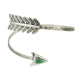 Wholesale Antique Bangle Bracelets - Bohemian Ethnic Upper Arm Bracelet with Turquoise Vintage Arrow Open Bangle Armlet Arm Cuff Antique Silver Bangle