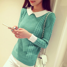 Wholesale Girls Short Sleeve Sweater - Wholesale- 2017 New fashion doll collar head slim shirt sweaters short Sweater Girl pullovers