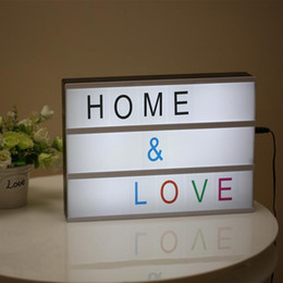 Wholesale Table Lamps Usb - Wholesale- Modern Cinematic Lightbox Table Lamp DIY With Letters Number A4 Size LED Lamp Battery USB Powered Cinema Desk Night Light Box
