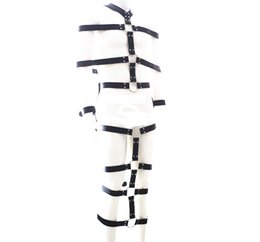 Wholesale Men Body Restraint Sex - Adjustable full body bondage belt leather fetish SM restraint strap games sex toys for men and women