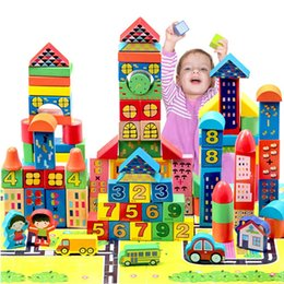 Wholesale paint wooden toys - Baby Building Blocks Puzzle City Child Wooden Toy Eco Friendly Paint Woody Delicate Toys For Developing Babies Cognitive Ability 38yh I1