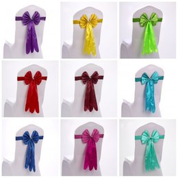 Wholesale Satin Ribbon Band - Chair Sashes Band Ribbon Flower Butterfly Tie With Elastic Chairs Cover Decor For Wedding Party Banquet Props 2 59sk F