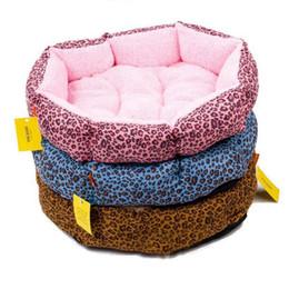 Wholesale leopard dog beds - Leopard Print Cotton Round Solid Pet Dog Cat Fleece Warm Bed House Plush Cozy Nest Mat