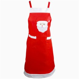Wholesale Christmas Chef - Free shipping Christmas Santa Apron For Adult 56*85cm Christmas Kitchen Cute Chefs Cooking Cook Party Apron Christmas Party Home Decorations