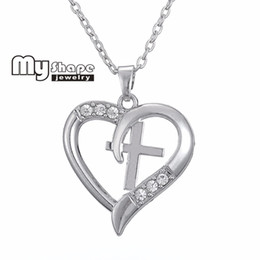 Wholesale Stainless Steel Jesus Pendant - Wholesale-Dropshipping Jesus Christianity Inspirational Heart Cross And infinite Necklaces Christian Charm Necklace woman Jewelry