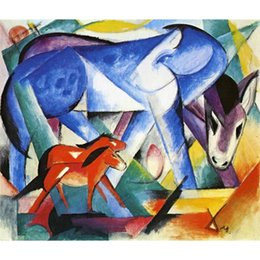Wholesale Marc Painting - The First Animals by Franz Marc Oil Painting modern abstract art High quality Hand painted