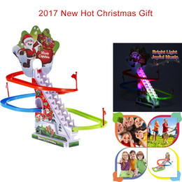 Wholesale Railing Stairs - Hot Christmas Santa Climbing Stairs Track Toy with Light&Music Flashing Electronic Rail Christmas Gift for Kids Glow in the Dark