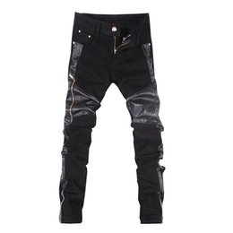Wholesale Pants Motorcycle 34 - Wholesale- Hot sale free shipping casual slim fit mens leather pants motorcycle jeans trousers Black 28-34 C107