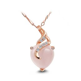 Wholesale Opal Pendant Rose Gold Chain - Furong stone rose gold 925 silver Ladies Pendant necklace Heart-shaped clavicle chain necklace female Korean silver accessories wholesale
