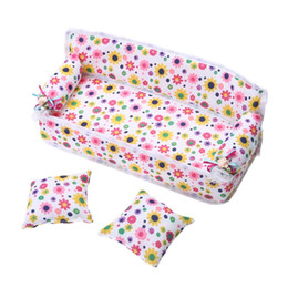 Wholesale Toy Dolls For Girls - Mini Dollhouse Furniture Flower Cloth Sofa Couch With 2 Full Cushions For Barbie Doll House Toys Hot Selling
