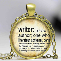 Wholesale Wholesale Dictionary - Free shipping Writer Pendant vintage dictionary definition of Writer word pendant word Writer jewelry glass Cabochon Necklace