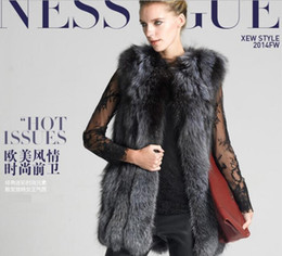 Wholesale Wool Strips - Exported Europe and the United States long-haired man-made wool long hair imitation silver fox fur vest