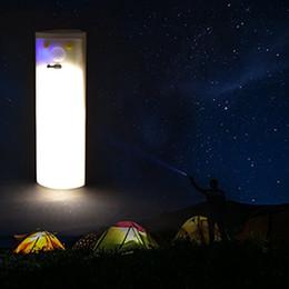 Luci a tenda a energia solare online-Solar powered Led campeggio luce USB Ricarica luce portatile 210lm bianco e bianco caldo per l'escursione esterna Tenda da campeggio illuminazione di pesca