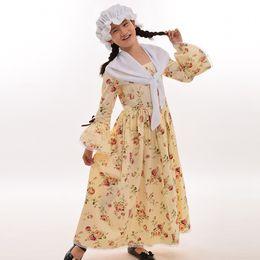 Wholesale Girls Renaissance Dress - Civil War Colonial Kids Costume Reenactment Child Girls Pioneer Puritan Dress White Hat Mini Cape Outfit
