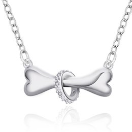 Wholesale Silver 925 Bone Charm - best gift bone sterling silver plated jewelry Necklace for women DN624,wedding 925 silver Pendant Necklaces with chain