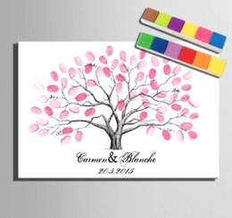 Wholesale Canvas Oil Colors - Fingerprint Tree Signature Canvas Painting Car Wedding Gift Decoration Name and Date Customized(Include 6Ink Colors)