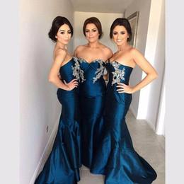 Wholesale Sweetheart Lace Beadings - 2017 Simple Elegant Sweetheart Sleeveless Mermaid Bridesmaid Dresses with Beadings Custom Made Formal Maid of Honor Gowns Cheap Wedding Wear