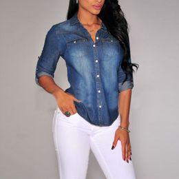 Wholesale denim shirt women - Women Lapel Button Blue Down Denim Jean Shirts Pocket Slim Top Blouse Coat