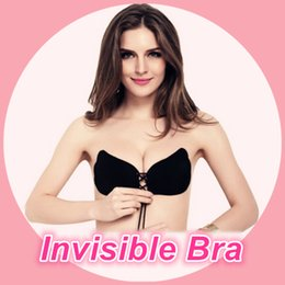 Wholesale Self Adhesive Bra Black - Sexy Women Push Up Bra Front Closure Self-Adhesive Silicone Gel Invisible Bra Seamless Strapless Backless Bra A B C D