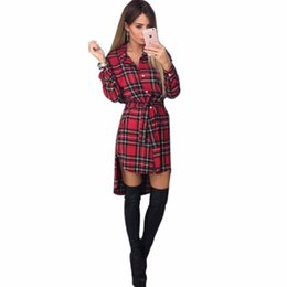 Wholesale Long Vest Dresses Wholesale - Wholesale- 2017 Spring autumn print grid dress sexy long sleeve office dress Bodycon Bandage street dress fall Robe Pull Femme Hiver Vest