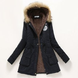 Wholesale Military Hooded Parka - Winter Coat Women New Parka Casual Outwear Military Hooded Thickening Cotton Coat Winter Jacket Fur Coats Women Clothes D21