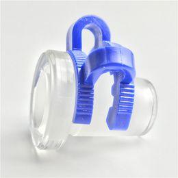 Adaptateur bleu en Ligne-10mm femelle à 14mm mâle 14mm femelle à 18mm mâle Mini adaptateur en verre avec plastique Keck Clip Blue Water Pipes Glass Bong Adapter