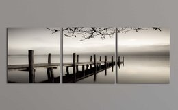 Wholesale Picture Gallery Wall - Peace Large Modern 3 Panels B & W Gallery Wrapped Landscape Giclee Canvas Print Wall Art Work to Hang For Living Room Kitchen Home