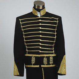 Wholesale Colonial Costumes - Wholesale- Prince charming Mens Period Costume golden red Medieval suit with pants Renaissance stage performance William Colonial Blazer