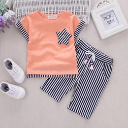 Wholesale Cotton Boy Shorts Wholesale - Summer kids clothes boys stripe clothes boys short sleeve top+short pant set 2 pieces children clothes suit